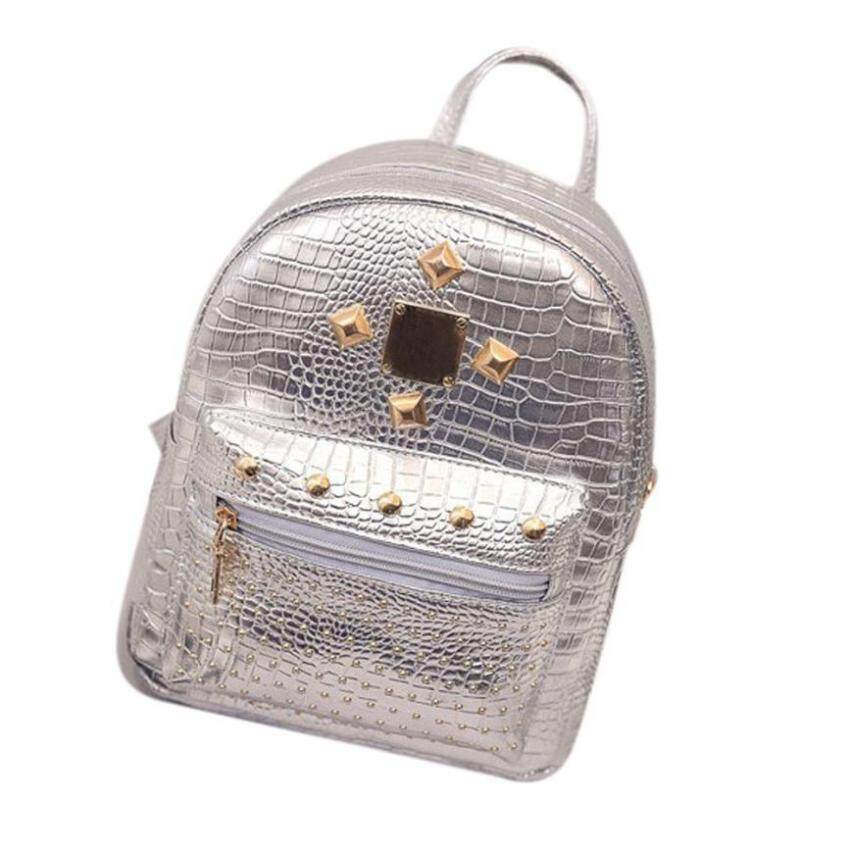 LanJi Fashion Trend Mini Small Double Back Personality Woman Crocodile Pattern Rivet Backpack -Silver -
