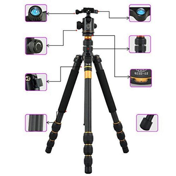 Flexzion Flexzion Kamera Tripod Lengkap Berdiri Kepala Bola Monopod Carbon Fiber Portable Perjalanan Wadah Ringkas dengan Ekstensi Kaki Perlengkapan Saku untuk Digital DSLR Canon Nikon Sony Olympus PENTAX-Intl