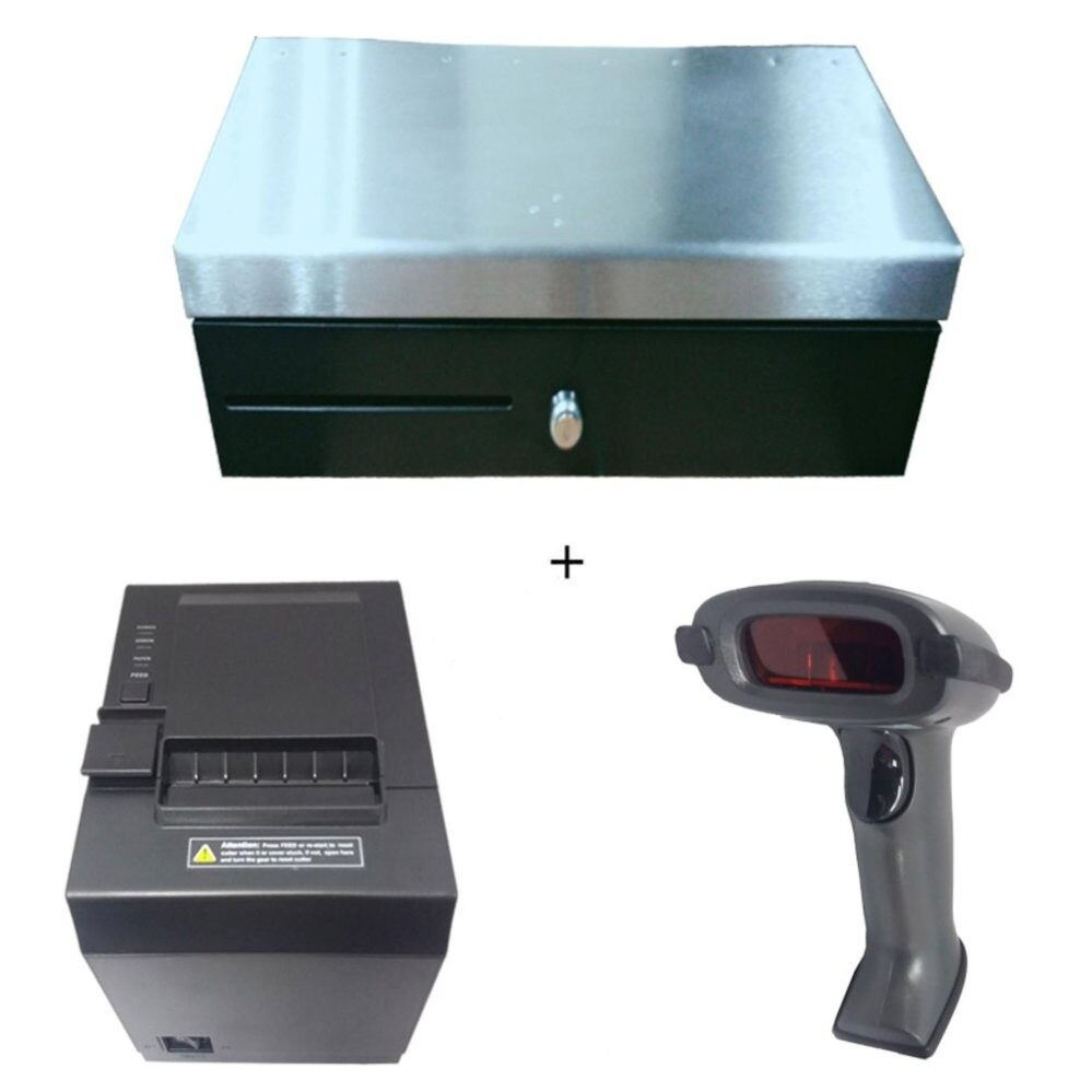 Fliptop Drawer MP170+Posmac Thermal Receipt Printer 80mm PP-Q6+Wired Barcode Scanner XL-6200