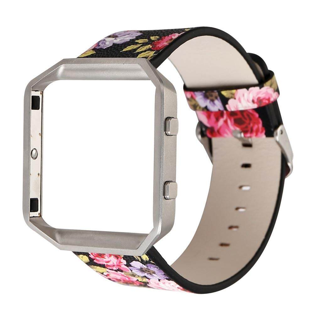 Floral Leather Strap Replacement Watchband Frame Holder Shell For Fitbit Blaze Intl Price