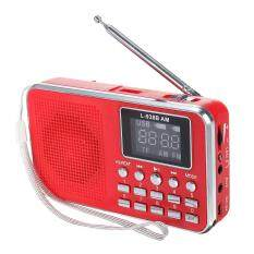 Fm Am Mini Radio Digital Lcd Speaker Mp3 Music Player Aux Usb Tf With Led Light Red By Teamwin.