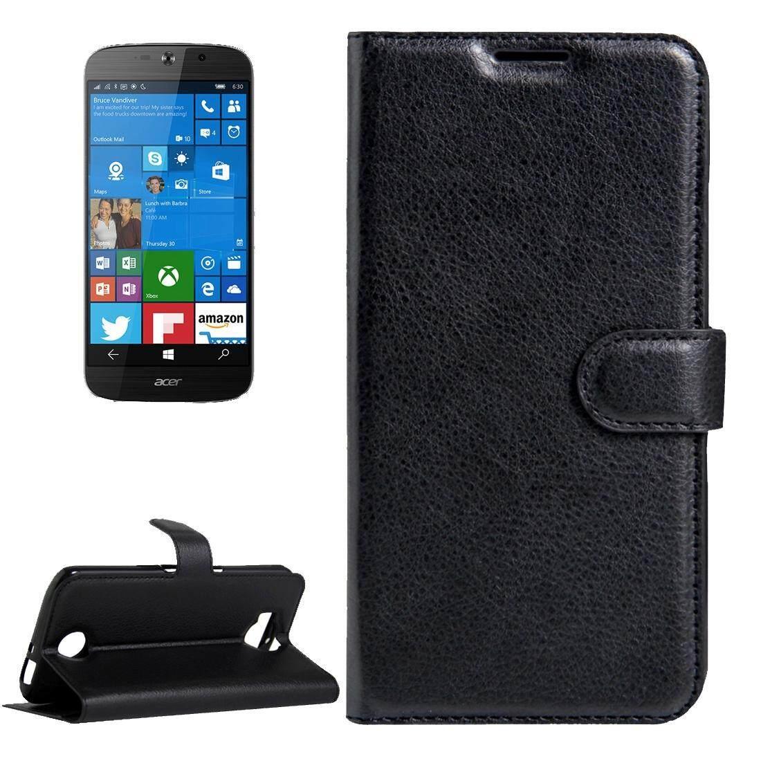 Untuk Acer Liquid Giok Primo 5.5 Inch & Liquid Giok 2 Lengkeng Tekstur Kulit Horisontal Lipat Case dengan Magnetik Gesper & Penahan & Slot Kartu & Dompet (Hitam) -Internasional