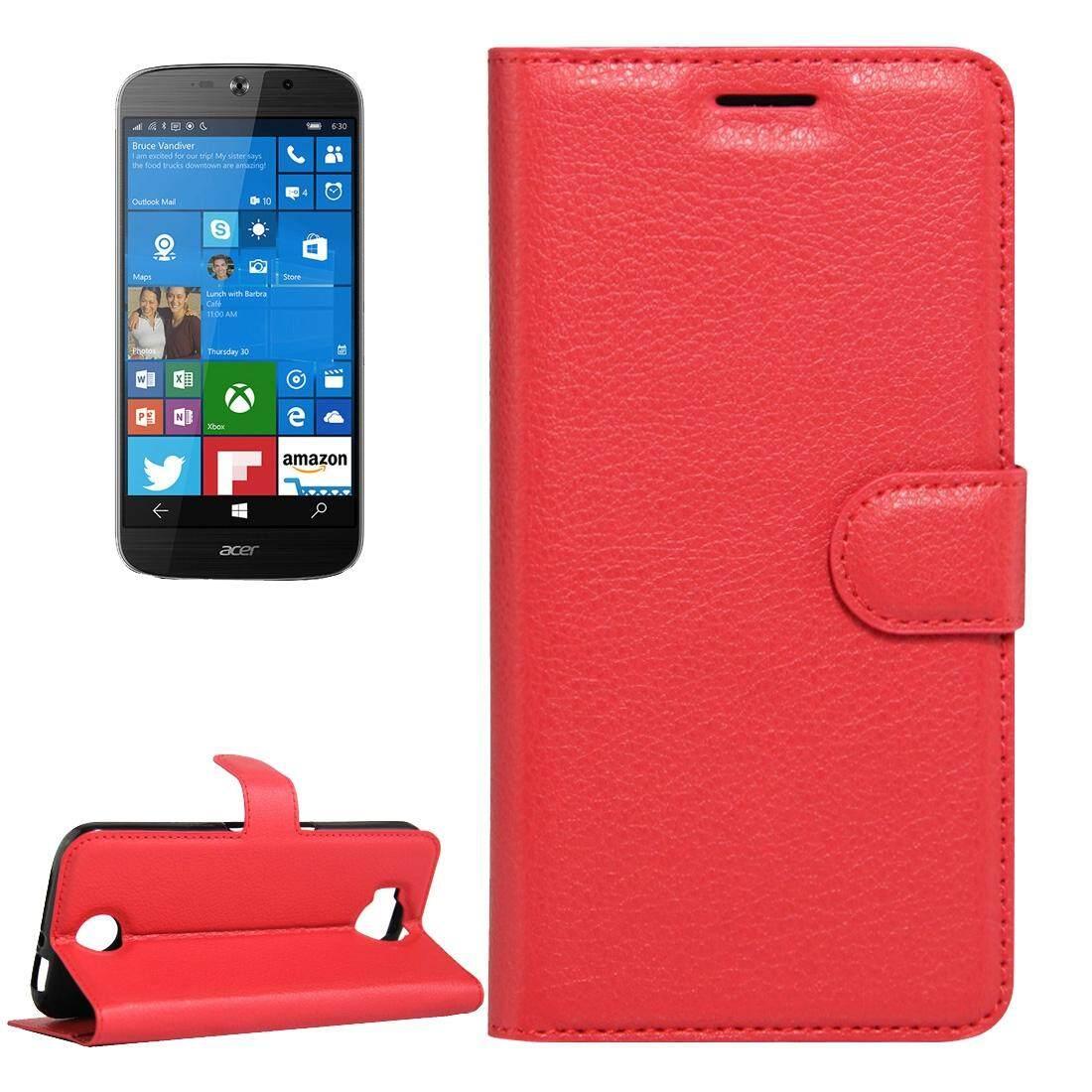 Untuk Acer Liquid Giok Primo 5.5 Inch & Liquid Giok 2 Lengkeng Tekstur Kulit Horisontal Lipat Case dengan Magnetik Gesper & Penahan & Slot Kartu & Dompet (Merah) -Internasional