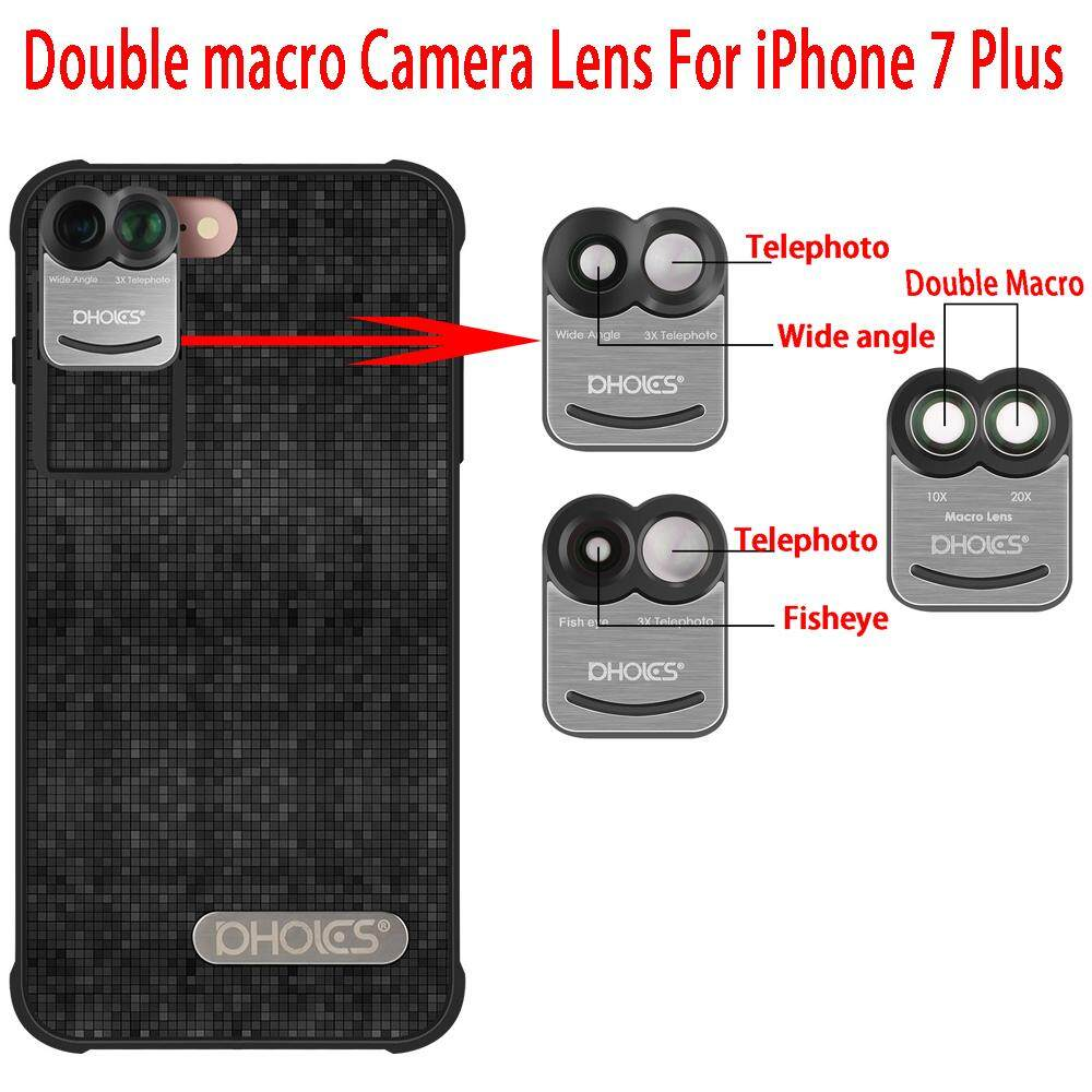 LONG B For Apple iphone 7 Plus Dual Phone Camera Lens Wide Angle Fisheye Macro Camera Lens Phone Shell For iPhone 7 Plus - intl