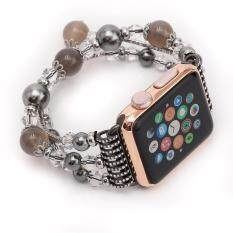 for Apple Watch Band 42MM Faux Pearl Elastic Stretch Shine Rhinestone Bracelet Women Girls Strap Replacement Wristband for Apple Watch Series 2, 1, Sport, Edition