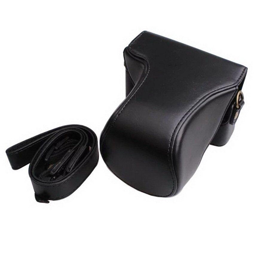 Untuk Canon EOS M10 Kasus Berkualitas Tinggi Foto Retro PU Kulit Kamera Digital Tas Kulit Pelindung Bahu dengan Tali (HITAM) sheng HOTT 544-Internasional