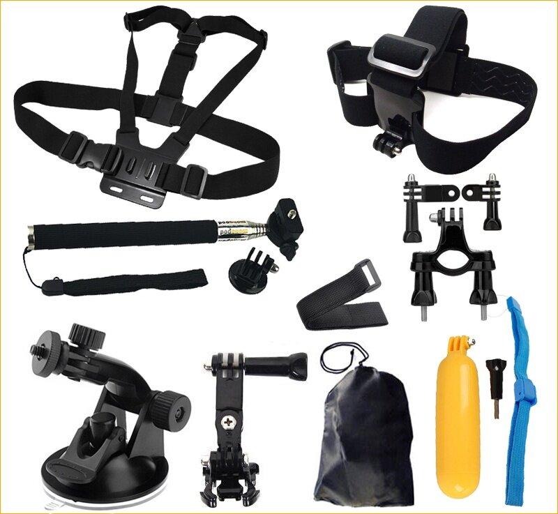 For Action Camera Accessories Set Helmet Floating stick Monopod Chest Belt Head Mount for Hero 6
