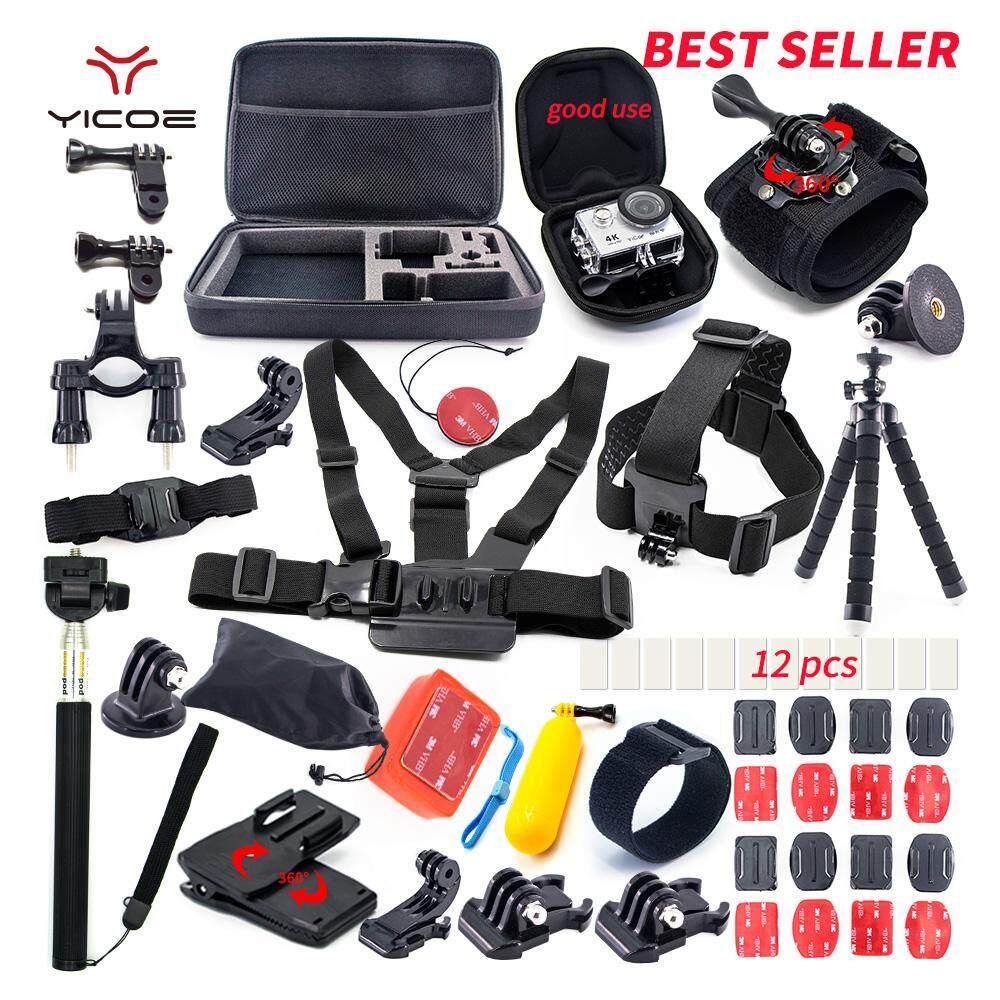 Untuk Go Pro Hero 6 5 4 3 Sesi SJCAM Xiao Mi Yi Mijia 4 K Aksi Aksesori Kamera Olahraga Kit Case Tripod Tongsis dengan Dudukan (Putih) -Intl
