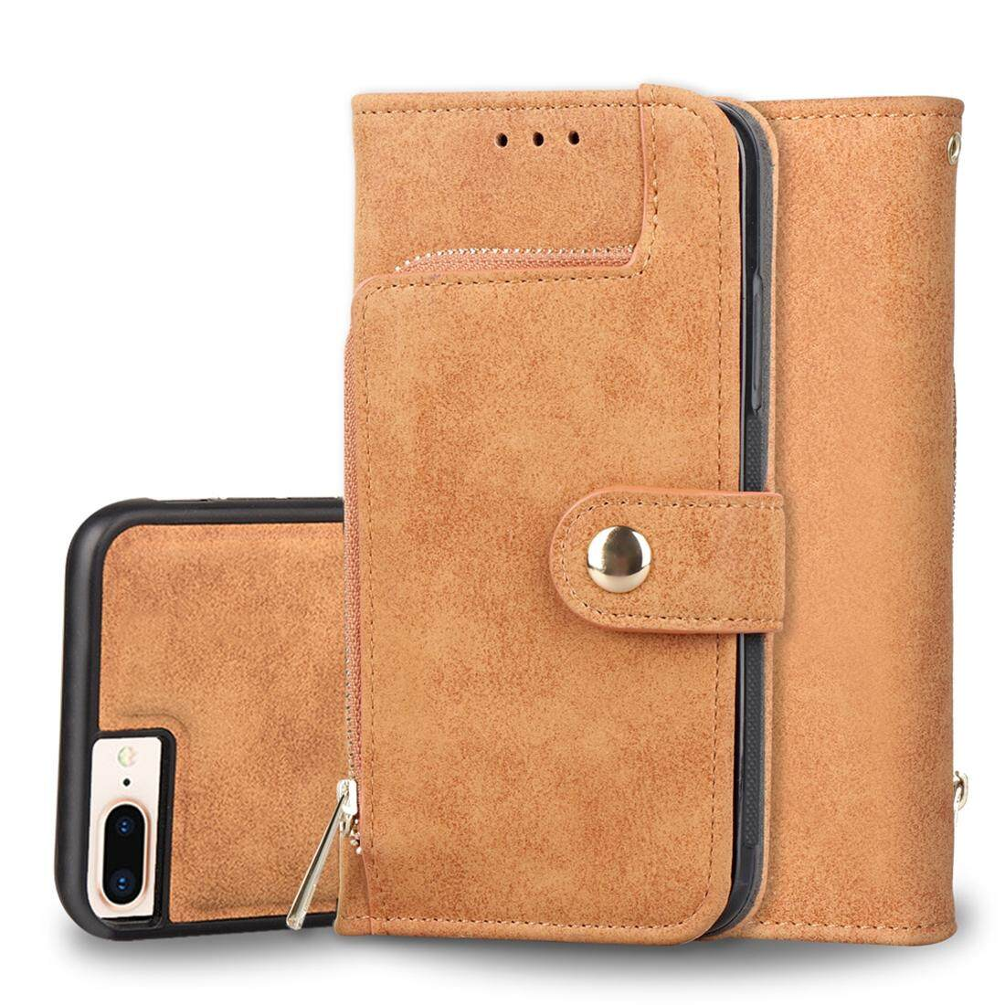 Sale For Iphone 8 Plus And 7 Plus And 6 Plus And 6S Plus Zipper Earphones Storage Magnetic Frosted Leather Case With Holder And Card Slots And Wallet Brown Intl Online China