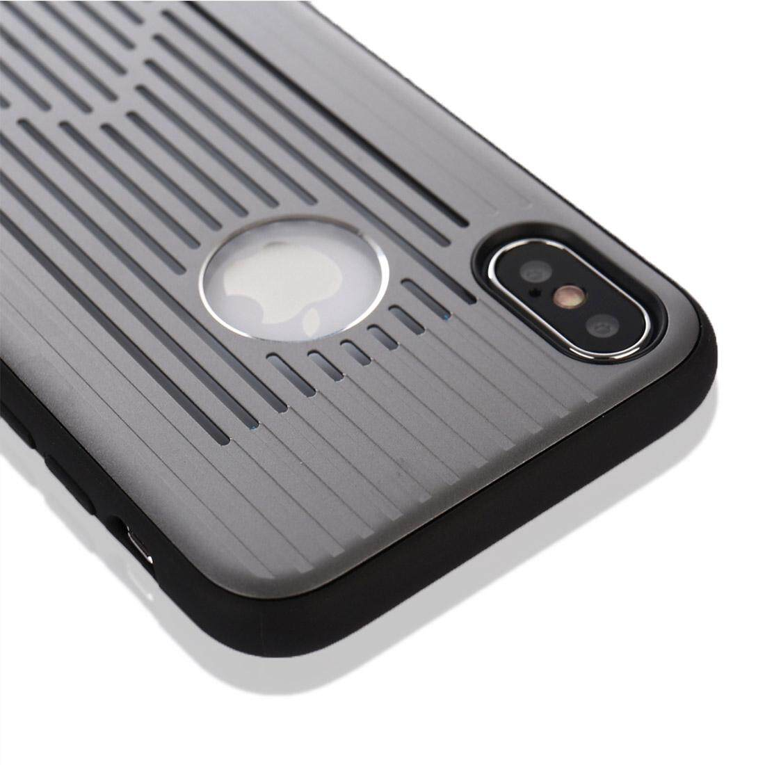 Untuk iPhone X Logam + Buah Berongga-Keluar Penuh Coverage Pelindung Sampul Belakang Case (Grey)-Internasional