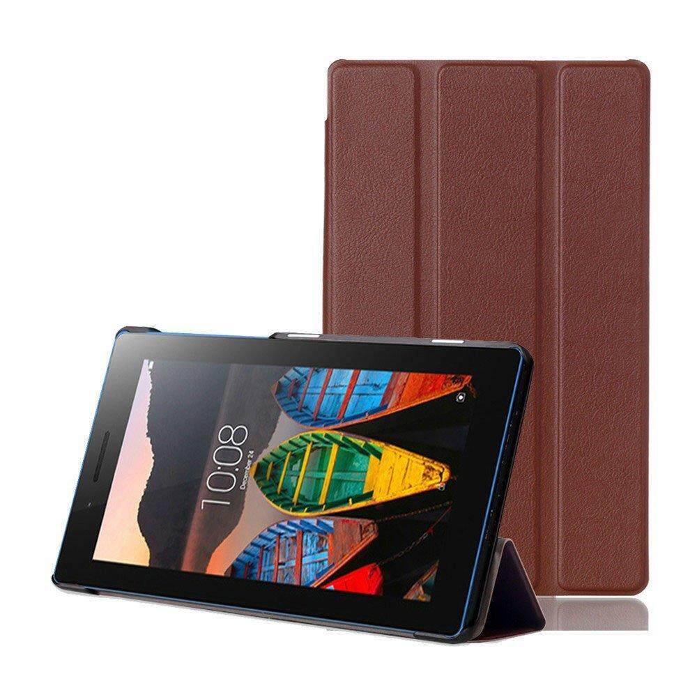 untuk Lenovo Tab3 7 Case, HP95 (TM) Fashion Ultra Slim Shell Smart Cover Case dengan Stand UP untuk Lenovo Tab3 7 710F 710I (Brown) -Intl