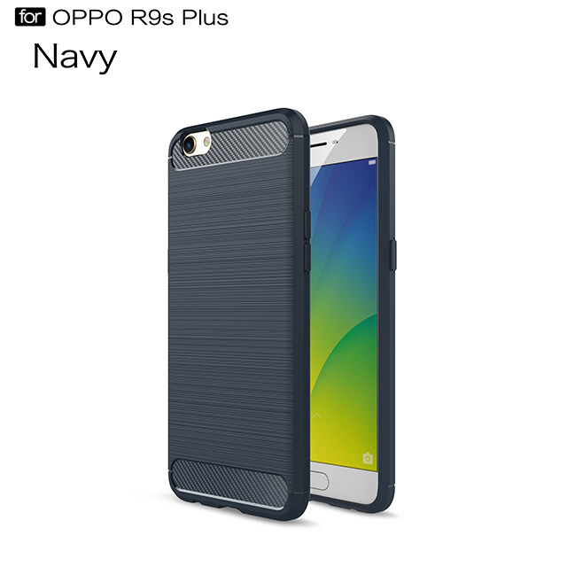 Untuk Oppo R9s Plus Case Silikon Lembut TPU Sarung Gosok Tekstur Serat Karbon Selubung untuk Oppo