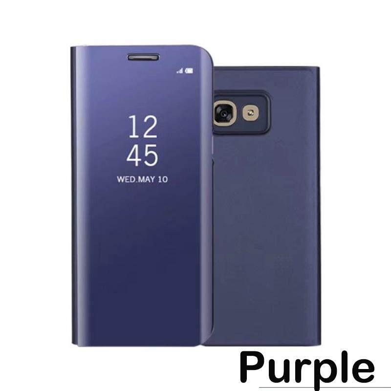 Untuk Samsung Galaksi A3 2017 Casing Mewah Pelapisan Spion Pintar Lipat Sarung Bening Transparan Selubung untuk Samsung A3 2017 PU Kulit Telepon ...