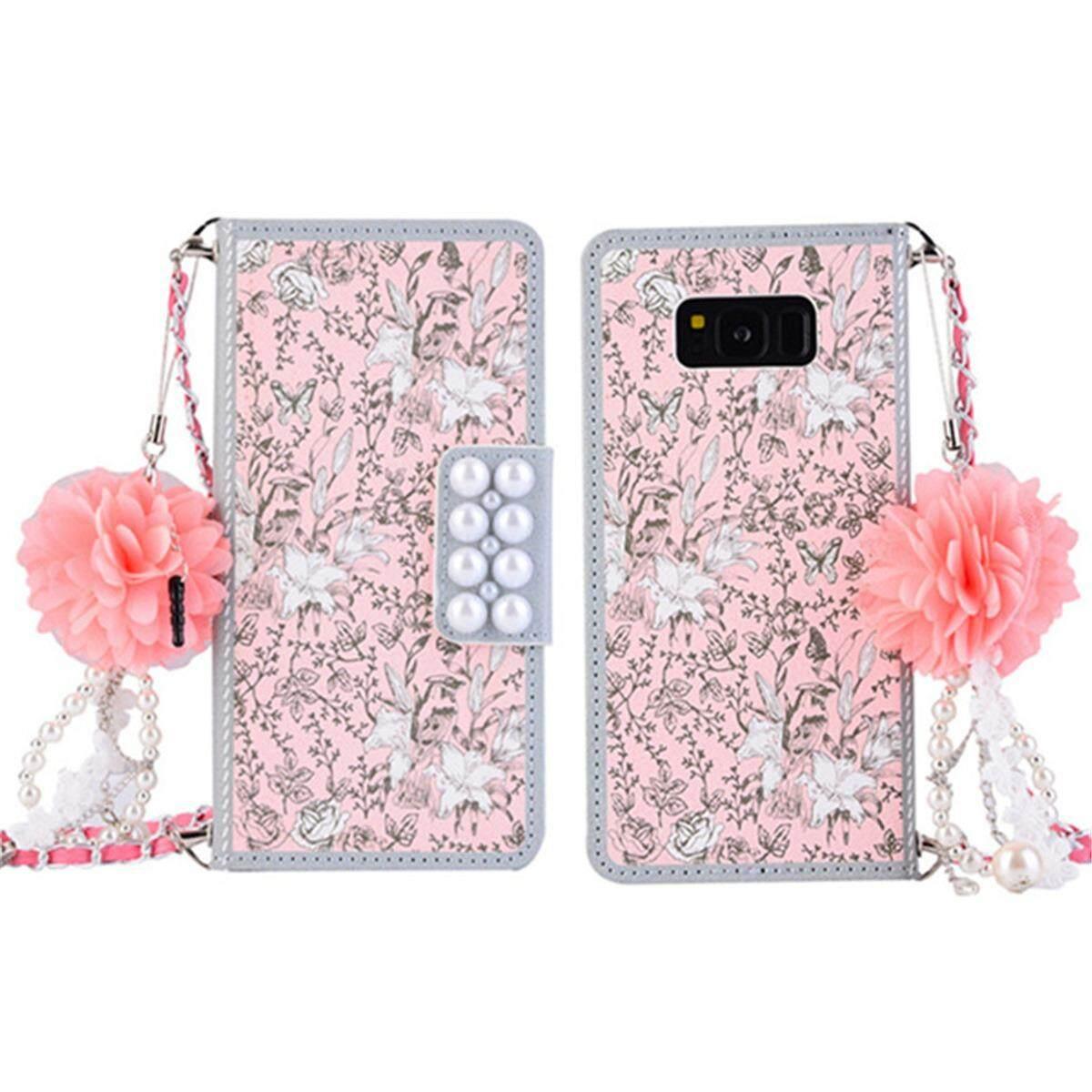 Untuk Samsung Galaksi S8 + & S8 Plus Dompet Kulit Case Tas Bunga PU Kulit Tas