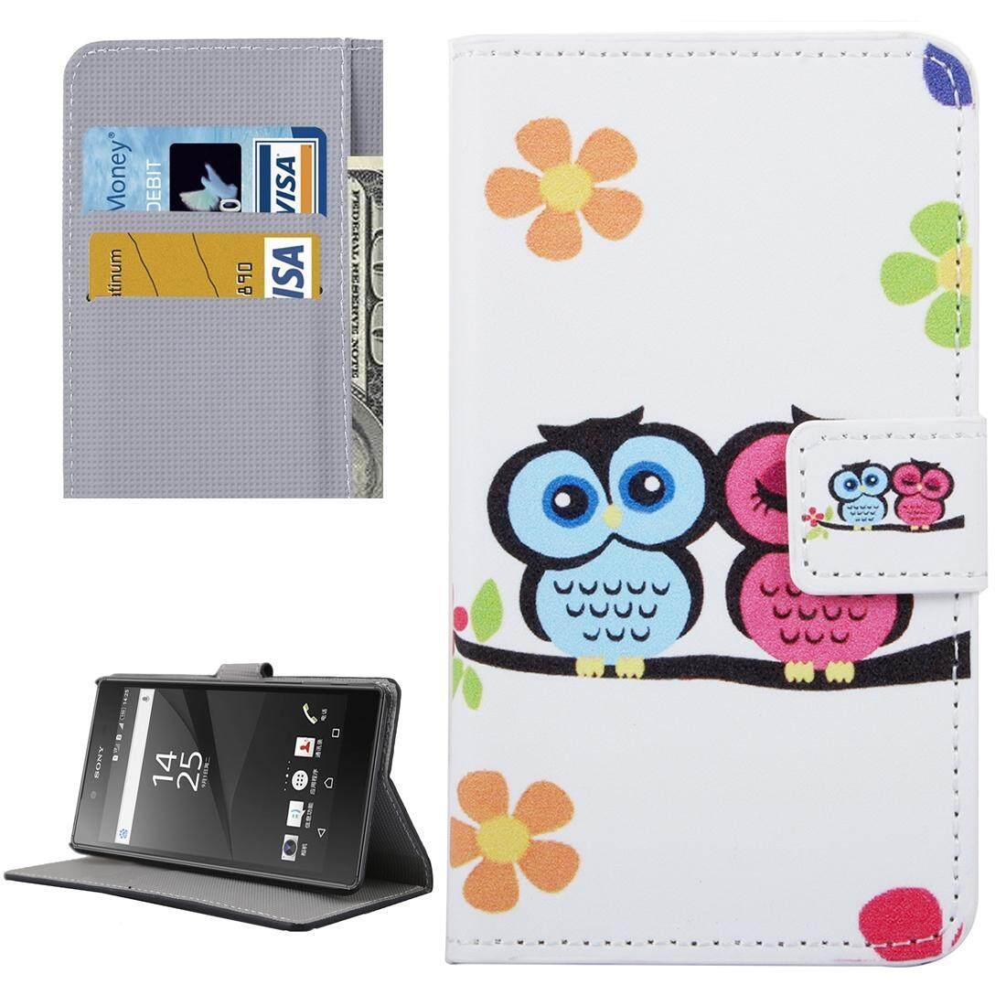 To Sony Xperia Xa Indonesia Ngumpul Di Sini Burung Hantu Pola Kulit Case dengan Slot Pemegang & Kartu & Dompet-Internasional