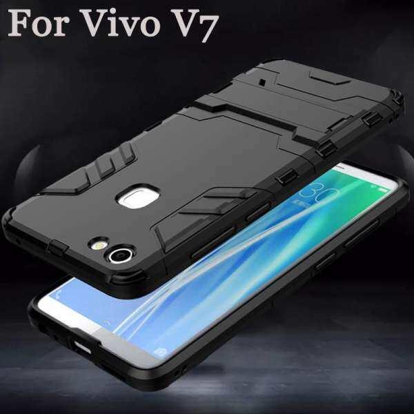 Untuk Vivo V7 Case Kasar Amor Shockproof Bumper Silikon + Plastik Keras Kembali Casing-Intl