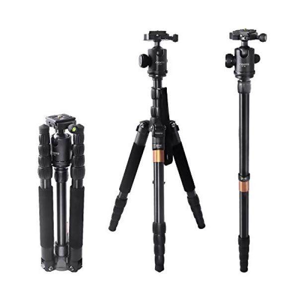 FOSOTO F-666 Portable Camera Tripod Monopod with Ball Head and Quick Release Plate for Nikon D3300 D3400 D5500 D7200 D810 D750 D610,Canon EOS Rebel T4 T5 T6 SL1 80D 750D,Sony & more DSLR - intl
