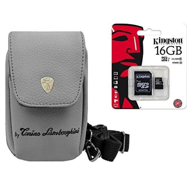 Foto Kamera Tasche Lamborghini Leder Set 16 GB SDHC Speicherkarte F? R Sony DSC-RX100 V HX80 Sony DSC-RX100 IV WX500 HX90V RX 100III HX60V-Intl