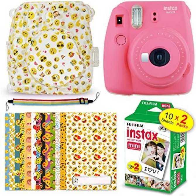 Hình ảnh Fuji Instax Mini 9 EMOJI Kit - Instant Camera FLAMINGO PINK + Mini 9 EMOJI Clear Camera Case + FujiFilm Mini Film (20 Sheets) + 20 EMOJI Sticker Frames + Rainbow Neck/Shoulder Strap