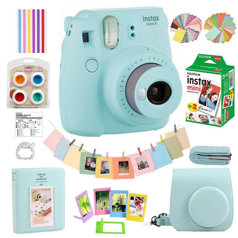 New Fujifilm Instax Mini 9 Film Camera Ice Blue 20 Sheets Bag Case Accessories Intl