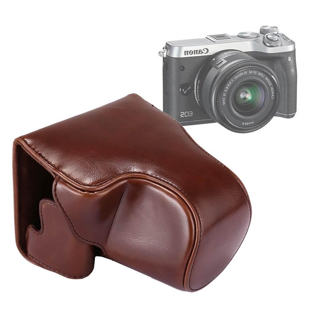 Penuh Tubuh Kamera PU Kulit Kasus Tas dengan Tali untuk Canon EOS M6 (Kopi)-Internasional