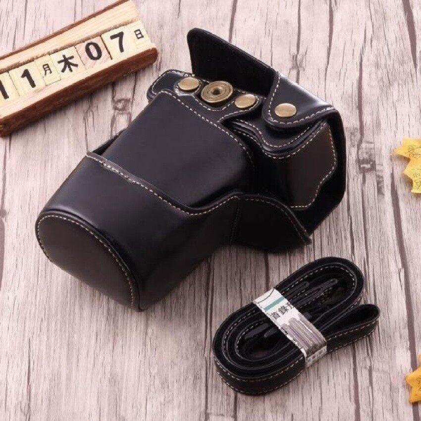 Penuh Kamera Badan PU Case Kulit Tas dengan Tali untuk Canon EOSM3 (Hitam) Sheng HOTT 338-Intl