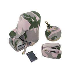 Full Protection Bottom Opening Version Protective PU Leather Camera Case Bag with Tripod Design Compatible For Nikon COOLPIX P900 with Shoulder Neck Strap Belt and Storage Card Case Camouflage