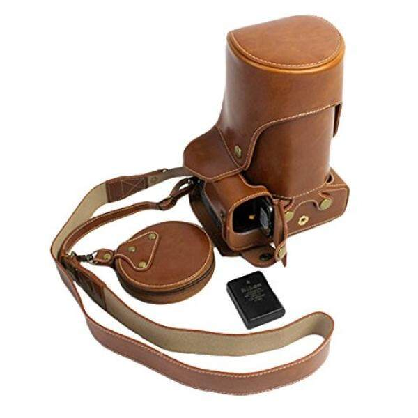 Full Protection Bottom Opening Version Protective PU Leather Camera Case Bag with Tripod Design Compatible For Nikon D5500 with 18 - 105mm Lens with Strap &Storage Card Case Brown - intl