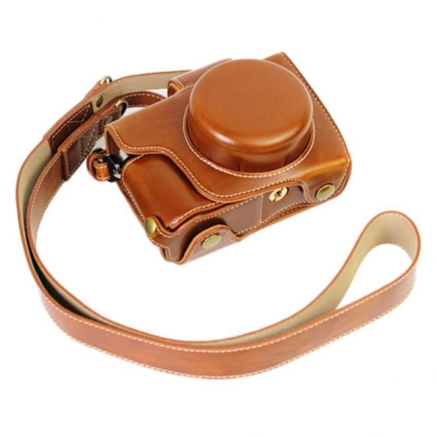 Penuh Perlindungan Bawah Pembukaan Version Pelindung PU Kulit Cameracase Tas dengan Tripod Desain Kompatibel untuk Olympus OM-D EM10IIE-M10 Menandai 2 EM10 Menandai II dengan X14-42mm F3.5-5.6 EZ Lensa Withshoulder Leher Tali Sheng HOTT 545-Internasional