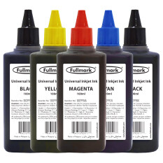 Fullmark Bi099 Universal Refill Ink,5 X 100ml (1 X Cyan, 1 X Magenta, 1 X Yellow, 2 X Black) - Compatible With Hp, Canon, Epson, Brother And Lexmark Printer By Everlead.