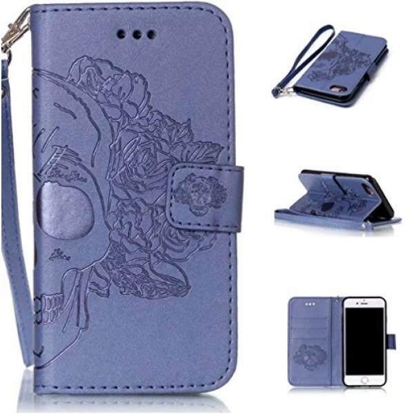 Galaxy S8 Plus Tengkorak Case, fusi Case Kreatif Desain Crossbone Embossing Rose Bunga Tengkorak Pola