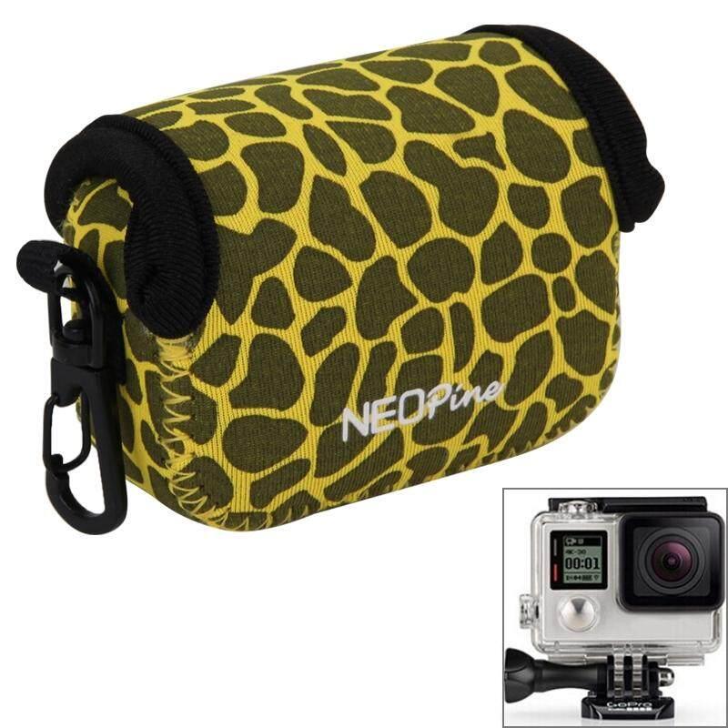 GN-6 Tekstur Leopard GoPro Aksesoris Perumahan Tahan Air Dalam Neoprene Tas Pelindung Kamera Kantung untuk GoPro Hero4 +/ 3 (Kuning) -Internasional