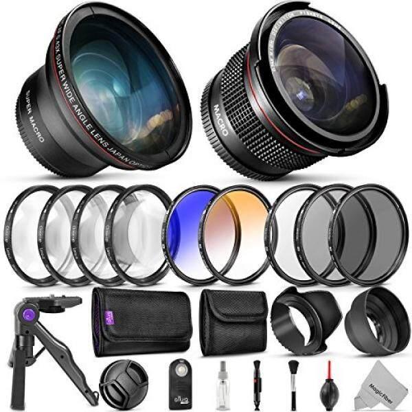 Goja Profesional 58 Mm Lensa & Bundel Saringan untuk Canon-Lengkap DSLR/Kamera Mirrorless Kit-Wide Angle & lensa Mata Ikan, filter Kit (Penutup Makro-Up Set UV, Cpl, ND4, Warna) tripod Mini & More-Intl
