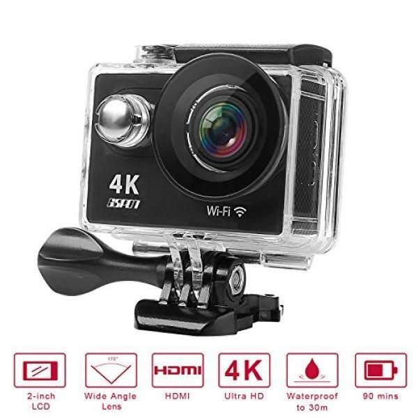 Gspon Gspon Wifi Kamera Aksi 4 K Ultra HD 12MP 30 M Tahan Air Camcorder DV 170 Derajat Sudut Lebar Lensa Kamera Olahraga 2 inch Layar LCD dengan Aksesoris Kit untuk Bersepeda Di Luar Ruangan Berselancar Berenang (Hitam-2) -Intl