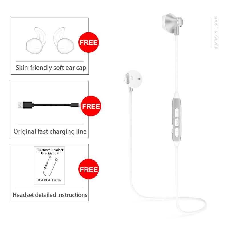 H2 Mode Terkini Bluetooth Earphone Alat Pendengar dengan Mikrofon Magnetik Earphone Nirkabel Olahraga Lari Bass Bluetooth Headset untuk Smartphone PC Perangkat Bluetooth MP3 (Perak) -Intl
