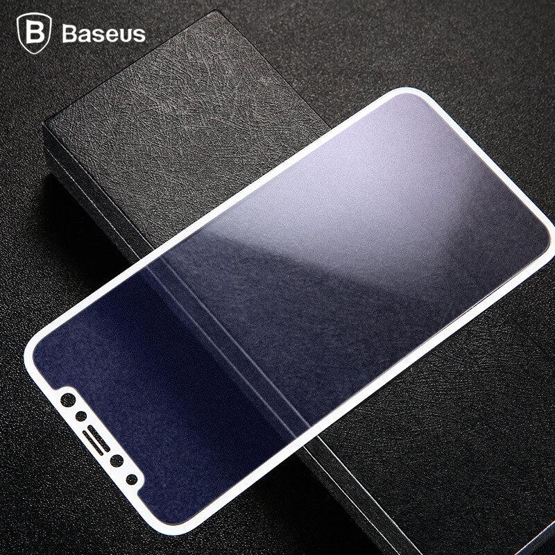 HD (Putih) BASEUS untuk iPhone X Soft Penutup Penuh Tepi 3D 0.23 MM Pelindung Layar Hewan Peliharaan Tempered Kaca Kuat Kaca Pelindung Film untuk iPhone 10-Internasional