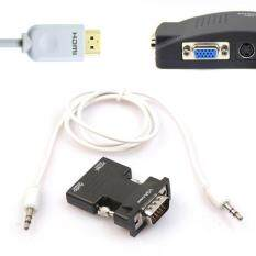 HDMI Female to VGA Male HD Adapter with 3Ft 3.5mm Stereo Cable BK Malaysia
