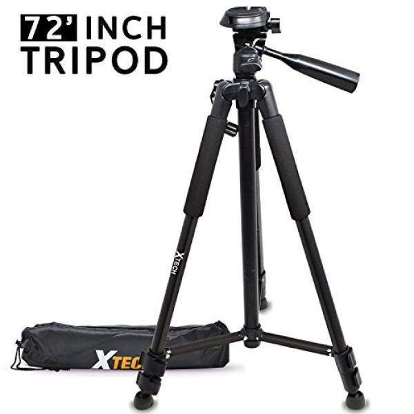 HeroFiber Xtech Pro Series 72' inch Tripod with Carrying Case, 3 way Pan-Head, for Canon EOS Rebel T7i T7 T6i T6S T6 T5i T5 T3i SL2 SL1 EOS 80D 77D 70D 60D EOS 9000D 800D 760D 750D 700D 1300D 1200D - intl