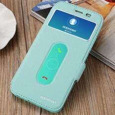 Hi Case Ultra Tipis Kulit Flip Pu Jendela View dengan Kickstand Fitur Magnetic Penutupan Case Cover untuk Vivo Y55 Hijau