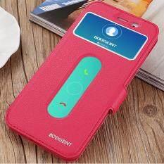 Hi Case Ultra Tipis Kulit Flip Pu Jendela View dengan Kickstand Fitur Magnetic Penutupan Case Cover untuk Vivo Y66 Merah
