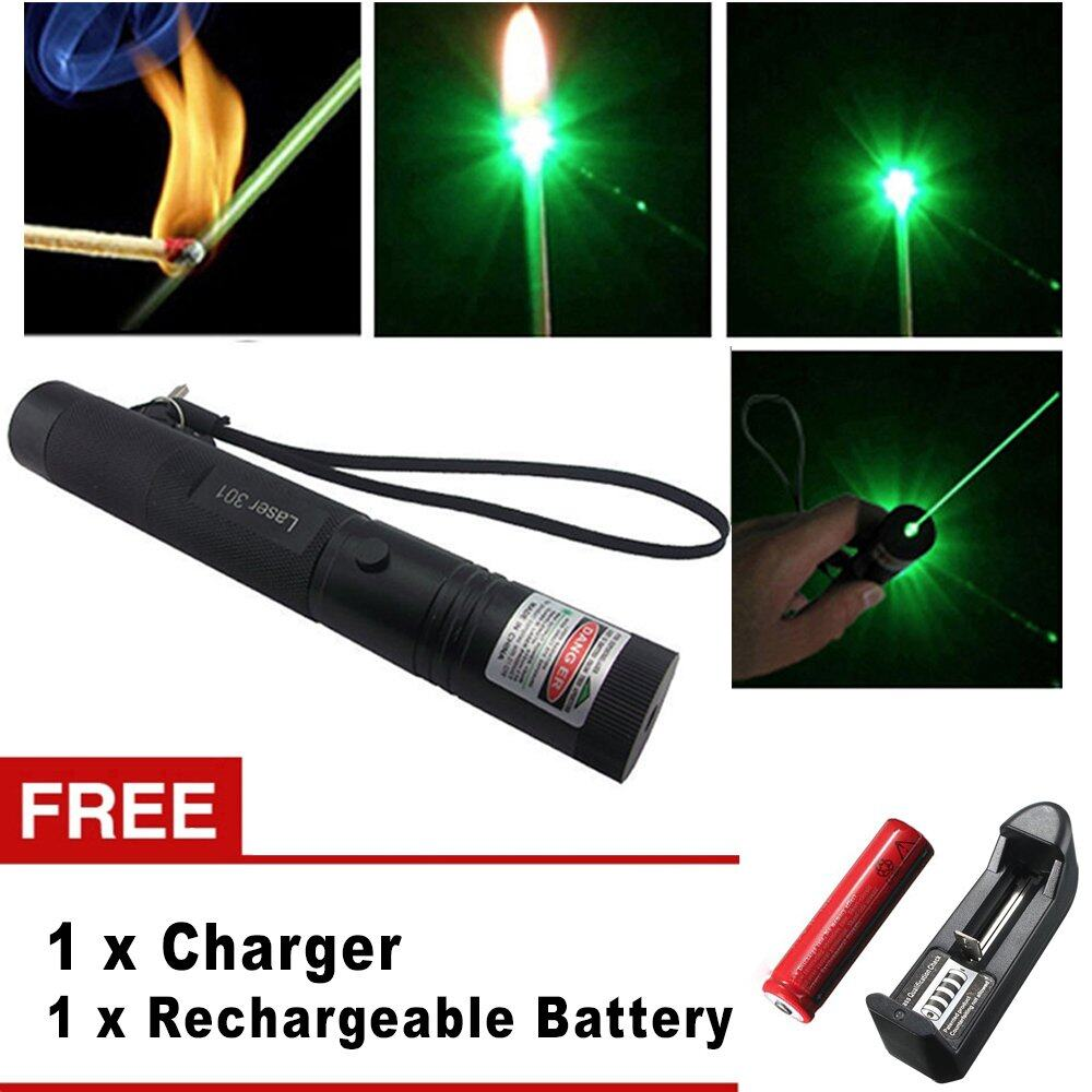 Green Laser Pointer Rechargeable Senter Hijau Spec Dan Recharge 303 10km 1 Mata Terjauh High Quality Power Burning 301 Military 532nm 18650 Battery