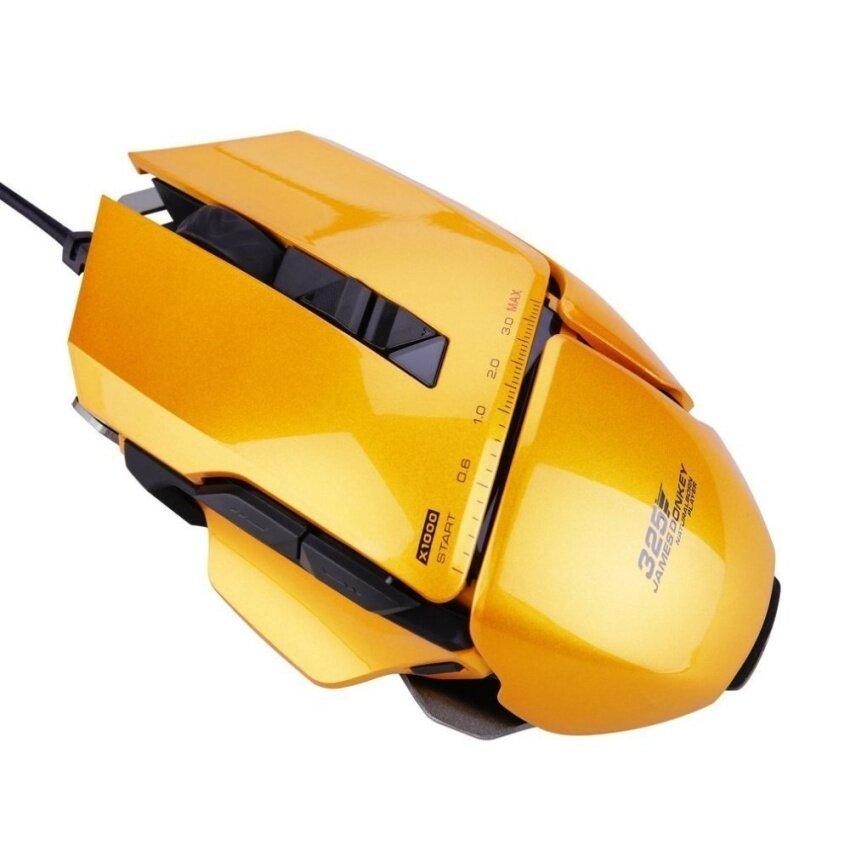 Kualitas Tinggi/(Malaysia) Jamesdonkey 325 USB Berkabel Laser Dapat Diprogram Ledgaming Mouse Oranye-Internasional