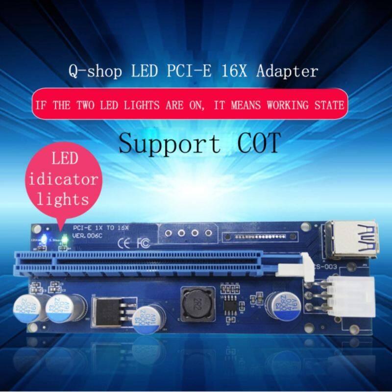 (LED Versi) q-Shop PCI-E PCI Express Riser Kartu 1x untuk