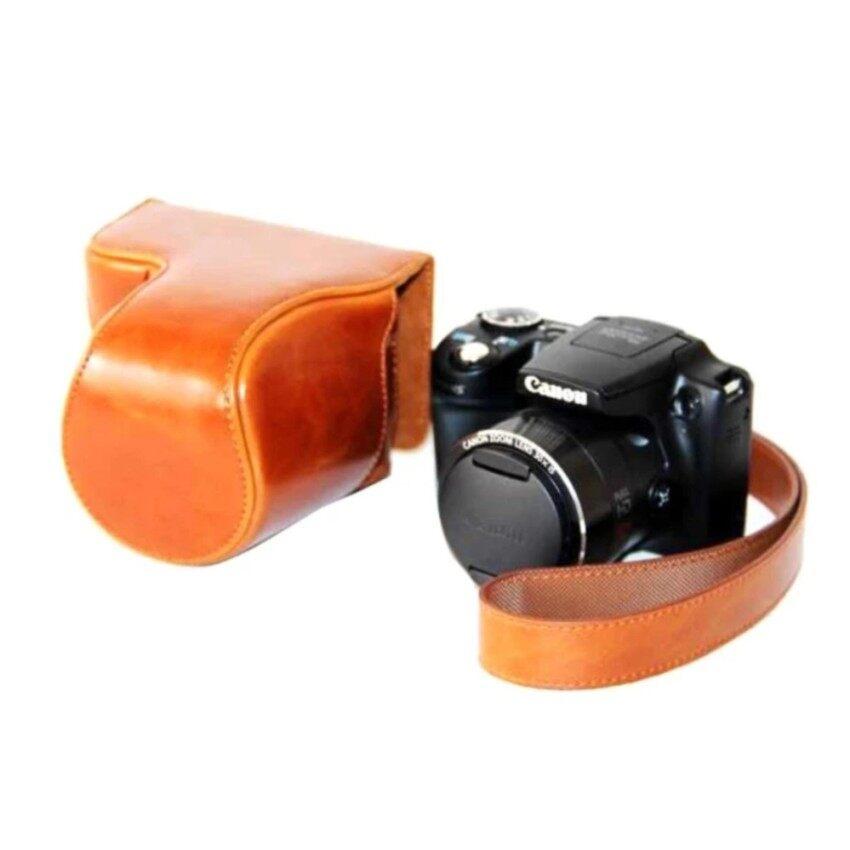 Kualitas Tinggi Kulit PU Paling Bagus Tas Wadah Kamera Penutup dengan Shoulderstrap untuk Canon PowerShot SX500HS/SX510HS-Intl