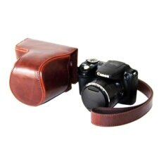 Kualitas Tinggi Kulit PU Paling Bagus Tas Wadah Kamera Cover dengan Tali Bahu untuk Canon PowerShot SX500HS/SX510HS