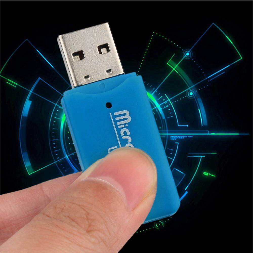 High Speed Mini USB 2.0 Micro SD TF T-Flash Memory Card Reader Adapter Sky