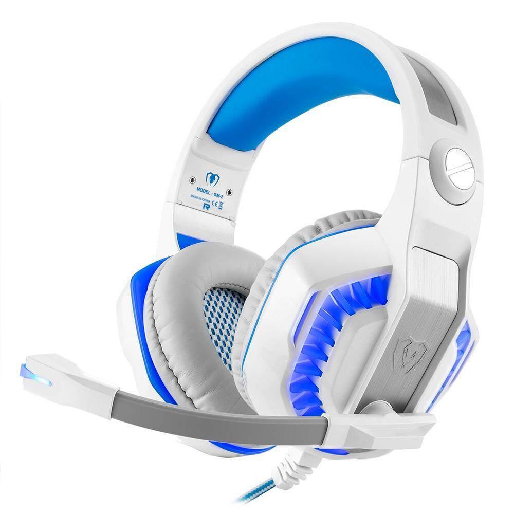 Honghui Kuat GM-2 Game Headset untuk PS4 Xbox Satu Laptop Buah Smartphone Tablet Ponsel (Putih + Biru) -Internasional