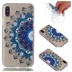 Penjualan Terlaris Casing Ponsel TPU Soft Shell Pelindung Silikon Mandala Kartun Dicat Minyak Encer Sarung Longgar untuk iPhone X (Biru)