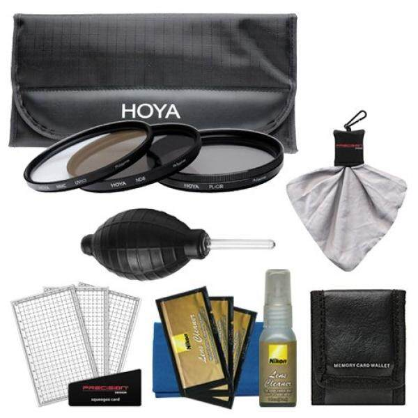 Hoya 77mm 3-Piece Filter Set (HMC UV, CP & ND8) with Case + Nikon Cleaning Kit for 10-24mm G DX AF-S, 12-24mm f/4 G, 24-120mm f/4 VR, 85mm f/1.4, 17-55mm f/2.8, 70-200mm f/2.8G VR II, 80-400mm Lens - intl