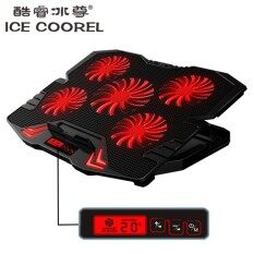 ICE COOREL K5 [NP48] Red Light Laptop Cooler Cooling Pads Super Mute 5 Fans Ice Cooling with Rack Stand and Built-in LCD Display 5 Speed of Fans for Laptop/Notebook Malaysia